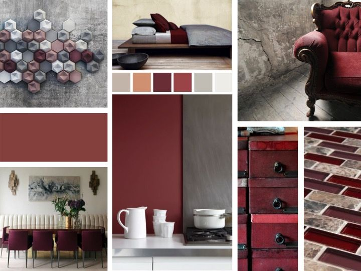 Marsala in interior design mood board