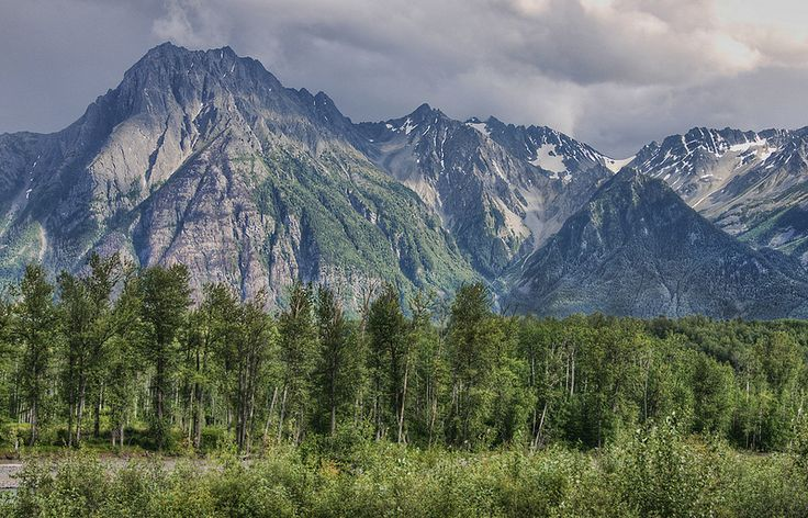Stegyawden (also known as Hagwilget Peak and the Roche de Boule mountain range) looking across the Bulkley River near its confluence with the Skeena River, Hazelton British Columbia, Canada.   by brodieguy