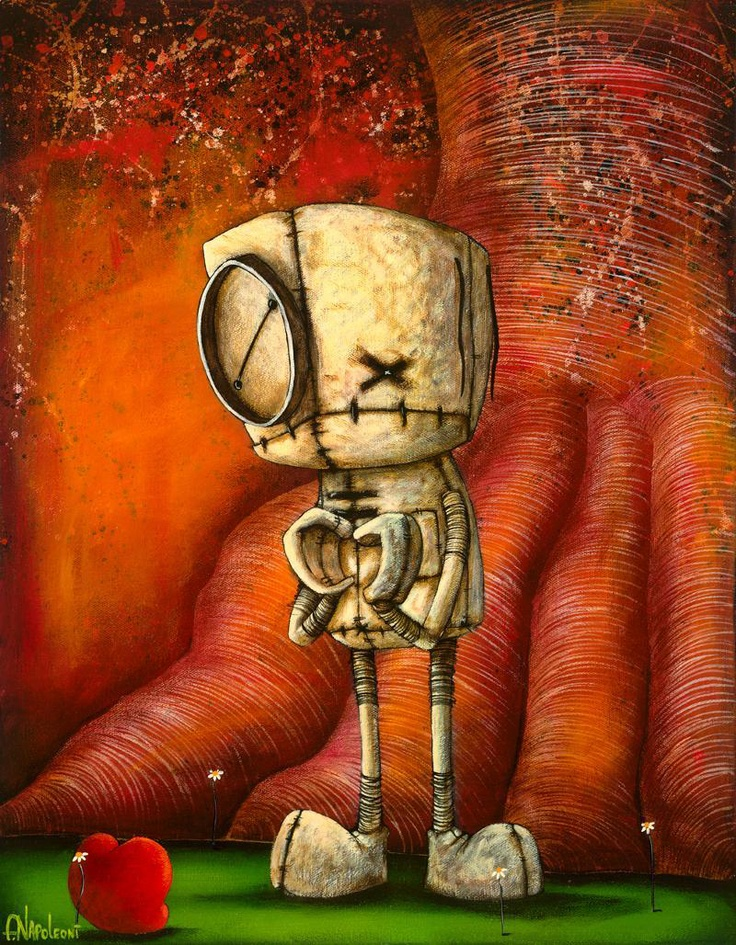 Fabio Napoleoni is the artist who created these interesting little critter paintings.  I first saw his work in a gallery at Disney.     Fabio's art is whimsical and filled with emotion.  The little critter is a rag doll.  He paints on canvas, takes a photo, sends the digital image to his printer for an edition of giclee prints which he signs with his name and a little drawing.