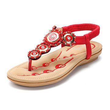 SOCOFY Rhinestone Clip Toe Bohemia Elastic Flat Sandals