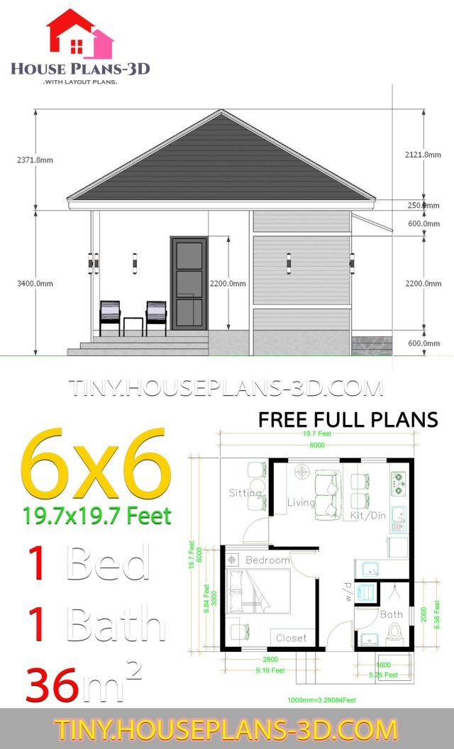 Small House Plans 6x6 With One Bedroom Hip Roof Tiny House Plans Small House Plans House Plans House Roof