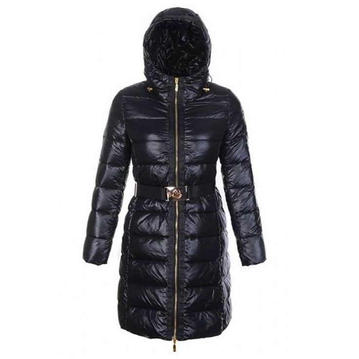 Women Moncler Black Nantes Hooded Long Down Coat