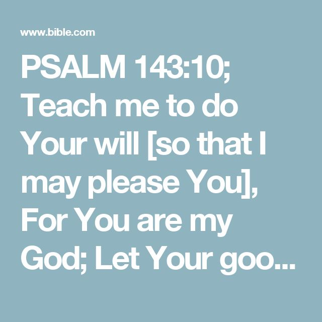 PSALM 143:10; Teach me to do Your will [so that I may please You], For You are my God; Let Your good Spirit lead me on level ground.