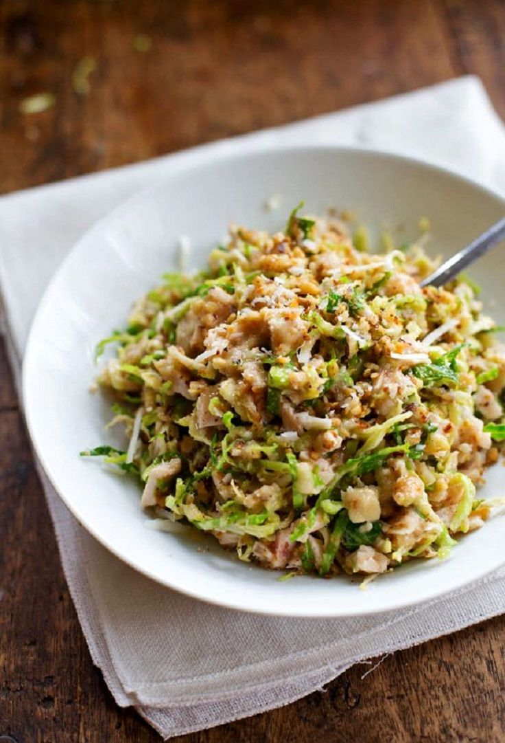 #Chopped #Brussels #Sprout #Salad with #Chicken and #Walnuts 15 #Powerful #Meat #Salads   All #Yummy #Recipes