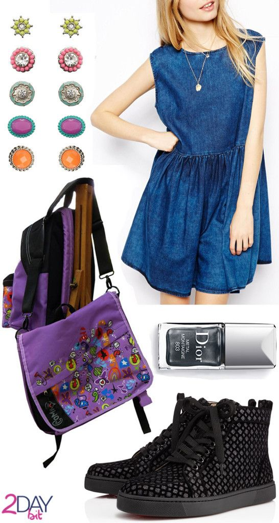 2DayBit Credits: Willow Packpacks upcoming for Comix ASOS PETITE Sleeveless Denim Smock Dress in Dark Wash Fluo Earrings by Accessorize Louboutin Rantus Woman Glitter Floque Dior Vernis 803 Metal Montaigne