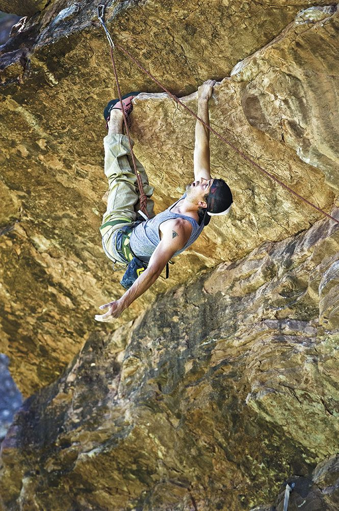Sonnie Trotter rests on Superpro (5.12d) Photo by Tegan Owens.