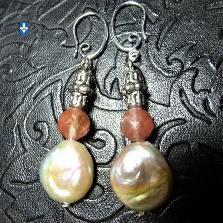 ♥ Adorable Natural Tourmaline & Baroque Round Pearl Plated Silver Earrings