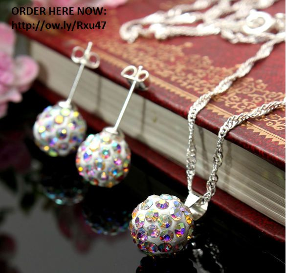 Crystal Ball Bead Pendant Necklace Earrings Jewelry Set available in 12 colours FREE shipping worldwide . only 4.99usd click on picture to order.