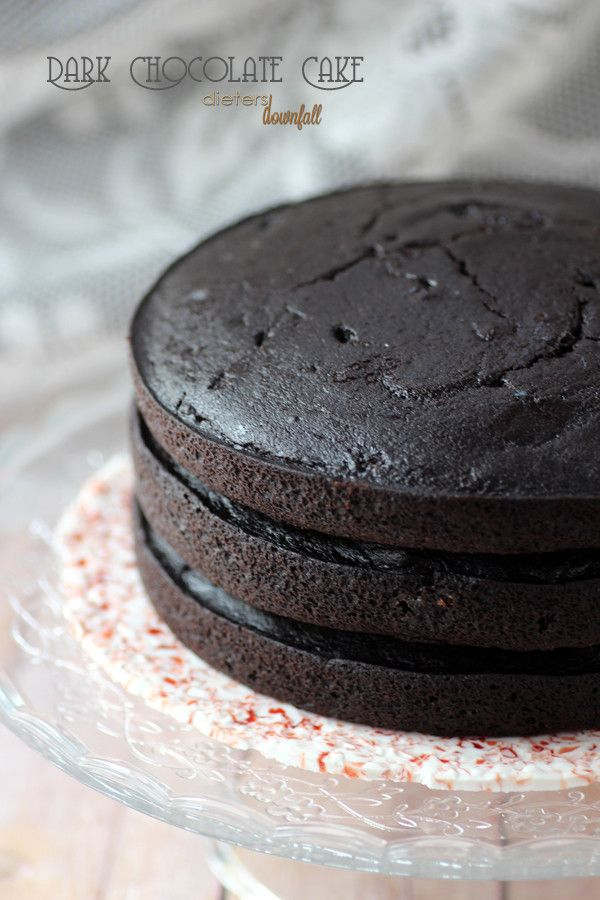 Triple Layer Dark Chocolate Cake is a decadently delicious to devour! from #Dietersdownfall.com