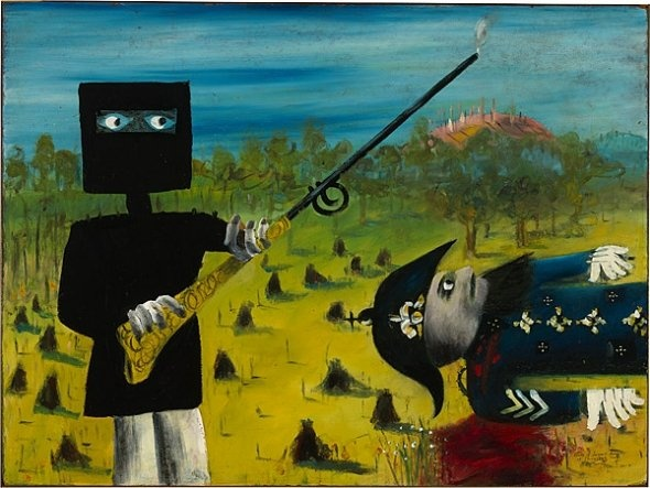 Australian Bushranger - Ned Kelly as painted by Sidney Nolan. This painting, by the Australian artist, Sidney Nolan, is of Edward 'Ned' Kelly, the last and probably the most famous of the Australian bush rangers. Ned, who is depicted wearing his famous armor, is standing over a dead trooper, one of the three he and his gang killed during an attempted ambush