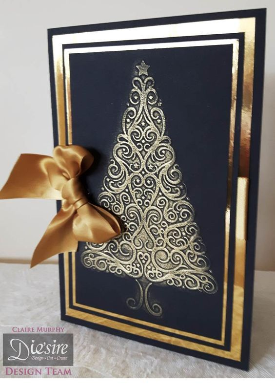 Side fold card made using the Festive Tree embossing folder from the Sara Signature Traditional Christmas collection. Designed by Claire Murphy #crafterscompanion #Christmas