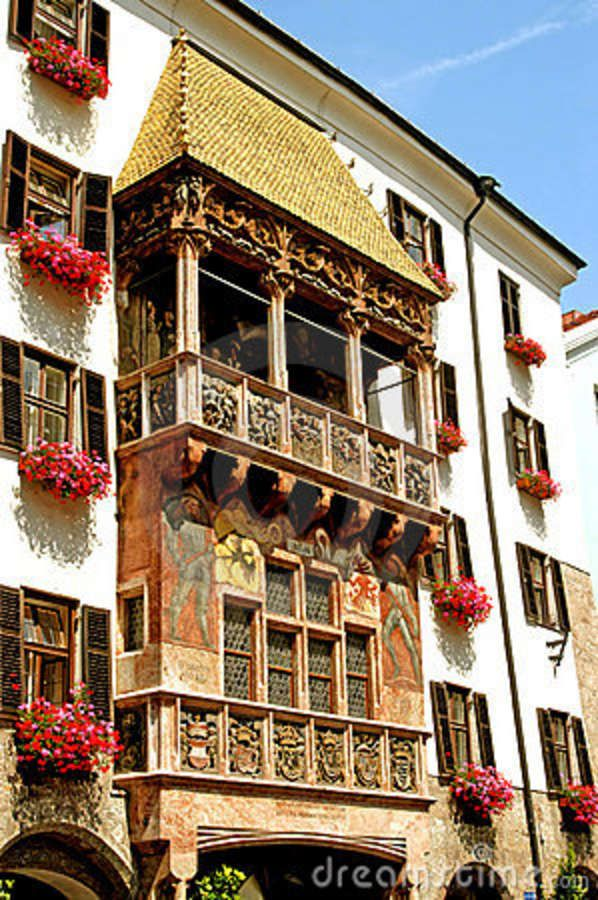 Innsbruck, Austria  The Golden roof has a rich history was constructed for Emperor Maximilian to serve as a royal box where he could sit in and stare and enjoy the tournaments.