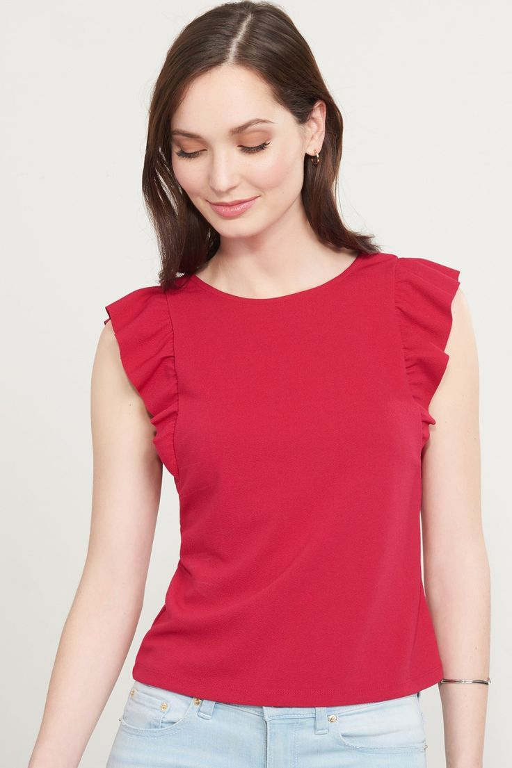 When the going gets ruffled... Scoop Back Top With Ruffles