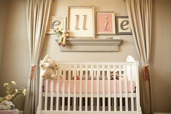 the framed letters are lovely for an elegant girl's nursery