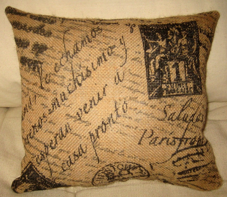 French Script Burlap Pillow, French Country Shabby Chic Neutral Cushion, Paris Inspired Home Decor, Ivory Muslin. $14.79, via Etsy.