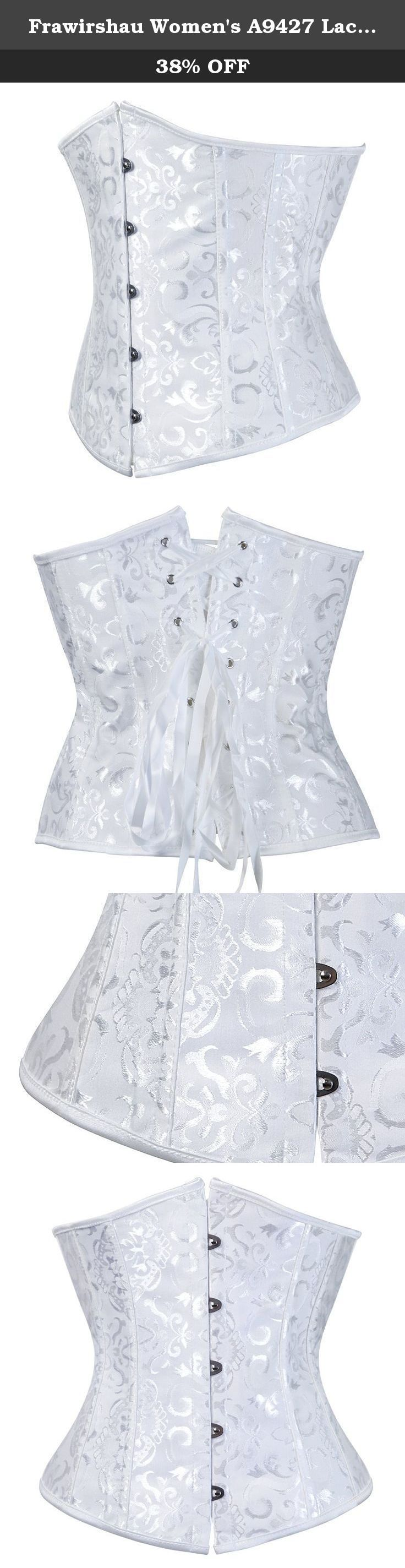 Frawirshau Women's A9427 Lace Up Boned Underbust Waist Trainer Corset Medium White. This beaufitul vintage style corset is made of two Layers of fabric,plastic bones. The corset is designed by waist size, please choose your corset according to your waistline. If your waist measurment is between two size, please choose the smaller size. If you are not sure what size you would need.Please leave your measurment to us,we can pick up the size for you. These fashion corsets are perfect for...