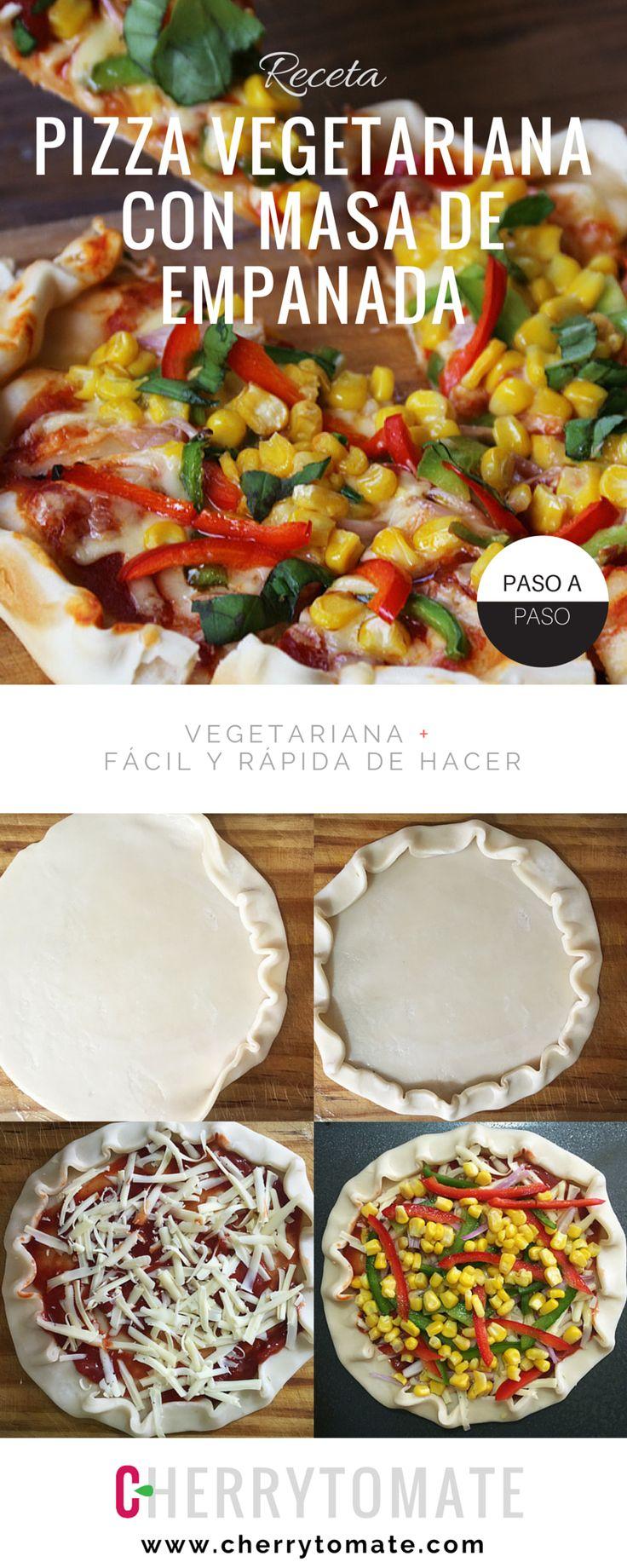 Receta de Pizza Vegetariana con Masa de Empanada - Muy fácil y rápida de hacer - La masa queda crujiente!