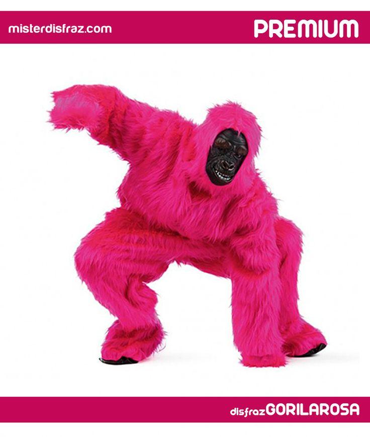 Disfraz de Gorila Rosa. Best-seller total! Despampanante disfraz de Gorila Rosa, muy recomendable para disfraces en grupo, comparsas, despedidas de soltero o carnaval. #disfraz #disfraces #disfrazgorila #carnaval #premium #disfracespremium #premiumanimales #gorila #gorilarosa #misterdisfraz