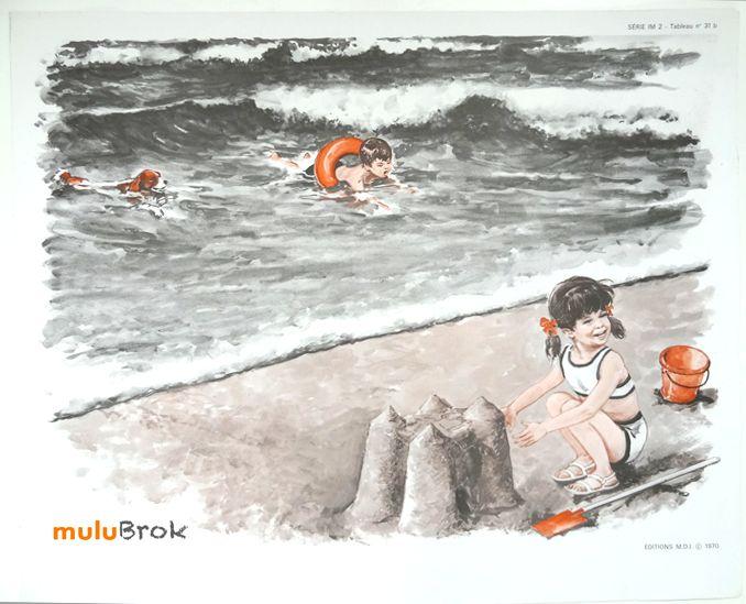 Ancienne affiche scolaire mdi . Château de sable . Déco Vintage www.muluBrok.fr