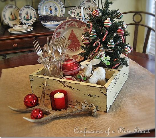 Rustic christmas table centerpiece pinterest