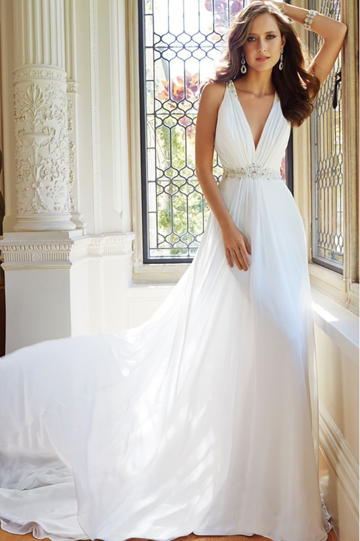 2014 V Neck Ruched Bust A Line Chiffon Wedding Dress Beaded Waistline And Tulle Back Chapel Train