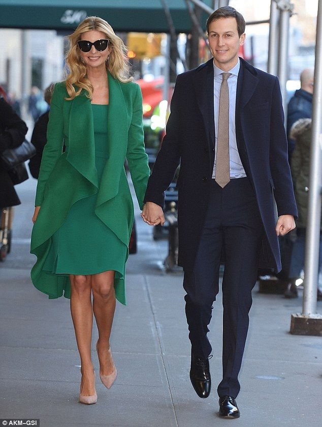 United front: Ivanka Trump and her husband Jared Kushner were hand in hand as they left their Park Avenue apartment on Thursday morning