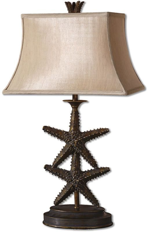 30 inchh starfish 1 light table lamp antiqued gold