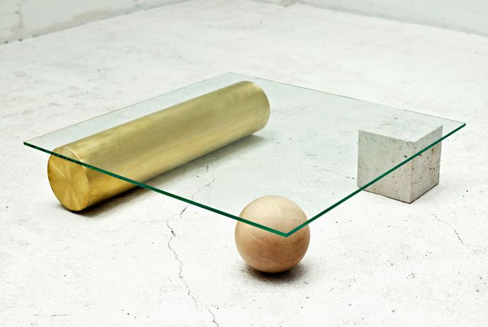 Faye Toogood | Element Table | 2010 Enquire Glass, brass, Portland stone, sycamore | UK
