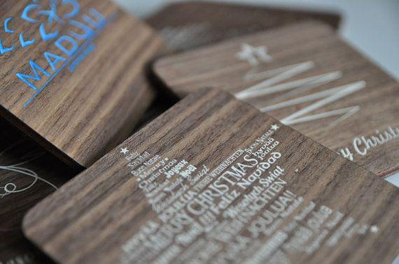 Christmas coasters with wood veneer Christmas by MaduuDesign