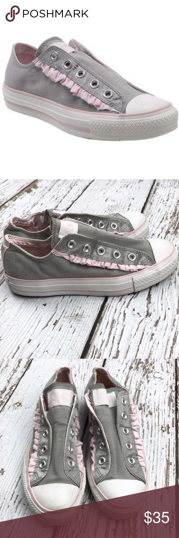 💕SALE💕Converse Gray & Pink Ruffled Chucks Adorable 💕Converse Gray & Pink Ruffled Chucks worn only for few hours so basically new Converse Shoes Sneakers