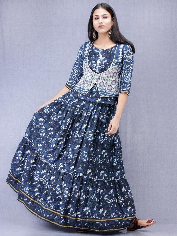 Block Print Indian Cotton Women Dress Tunic Girl Long Frock Top Gown Kurtis