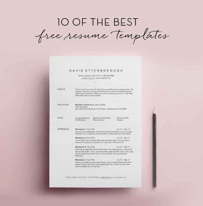 10 free resume templates.