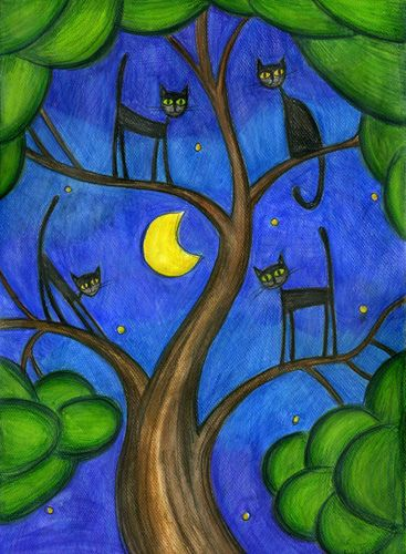 Black Cats in a tree. (Blue & Green)