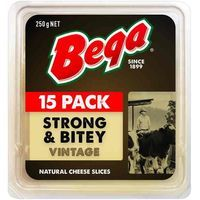 Bega Cheese Slices Strong N Bitey Vintage 12pk 250g - buy bega cheese slices strong n bitey vintage 12pk 250g online at woolworths.com.au $6.12