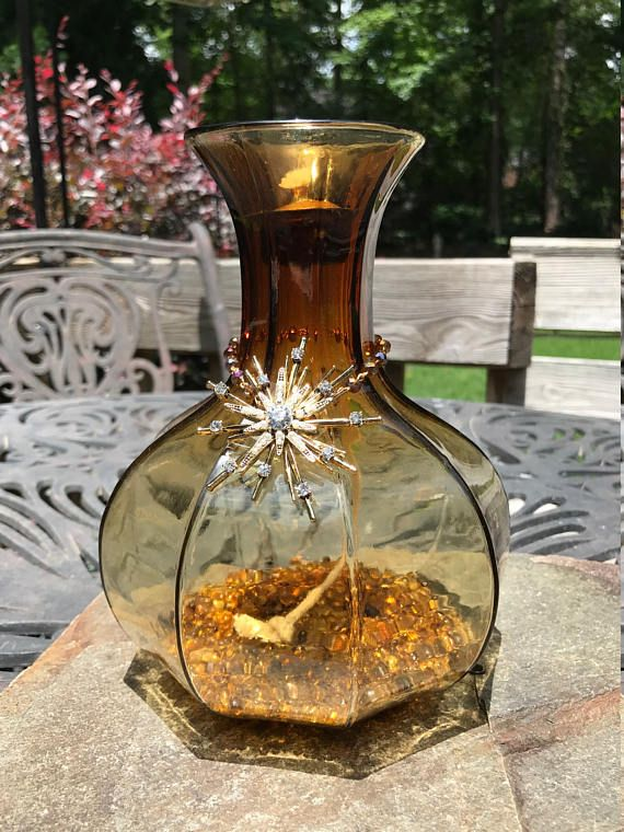 70's Style Amber Tiki Torch Oil Lamp