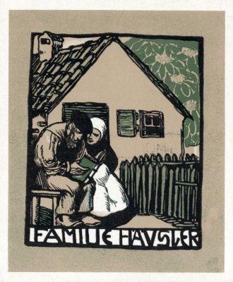 Ex libris for Familie Häusler by Rudolf Schiestl (1878-1931)