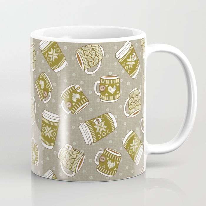 Available in 11 and 15 ounce sizes, our premium ceramic coffee mugs feature wrap-around art and large handles for easy gripping. Dishwasher and microwave safe, these cool coffee mugs will be your new favorite way to consume hot or cold beverages.  #Cozy #Mugs #Macchiato #Cocoa #Tea #coffee #hygge #mia #miavaldez #green #society6 #VisibleWomen #coffeemug