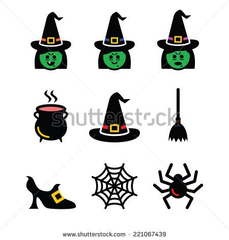 Witch Halloween vector icons set by RedKoala