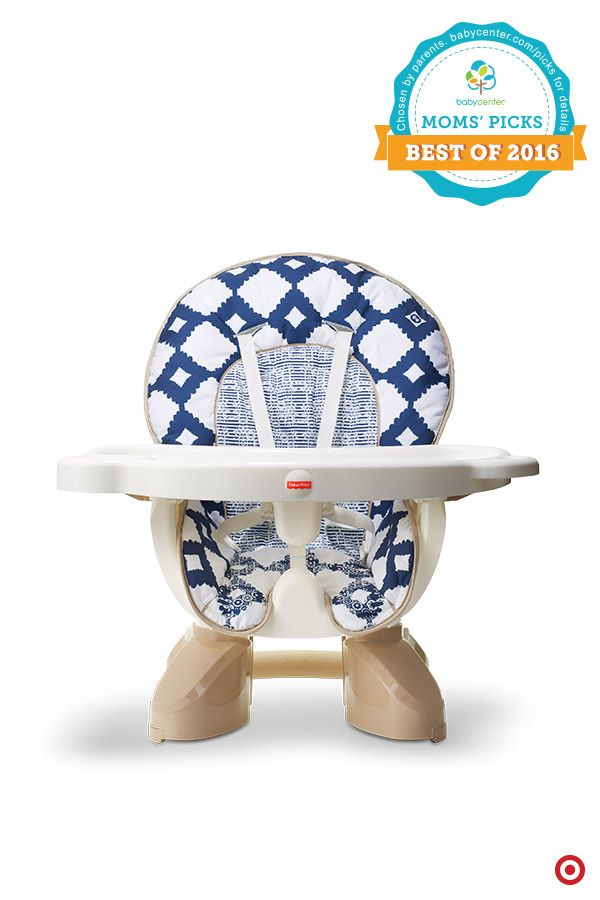 Get the comfort and convenience of a full-sized highchair in half the space. A BabyCenter Moms' Pick, the compact Fisher-Price SpaceSaver Highchair straps securely to just about any kitchen chair and is great for small spaces or on the go. Best yet? It grows with your Baby from a reclining seat for newborns to an upright seat for infants to a big-kid booster, and it fits nicely on your Baby Registry.