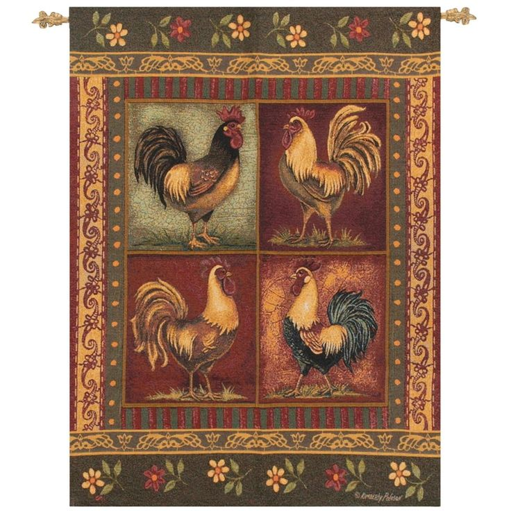 """Country Heritage Mediterranean Roost Cotton Wall Art Hanging Tapestry 35"""" x 42"""", Green"""