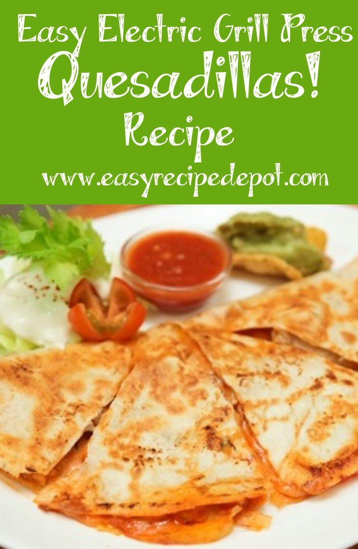 Super easy recipe for quesadillas you make on your indoor grill! Perfect for a George Foreman Grill or a Quisinart Griddler. These quesadillas are fun to make and delicious!