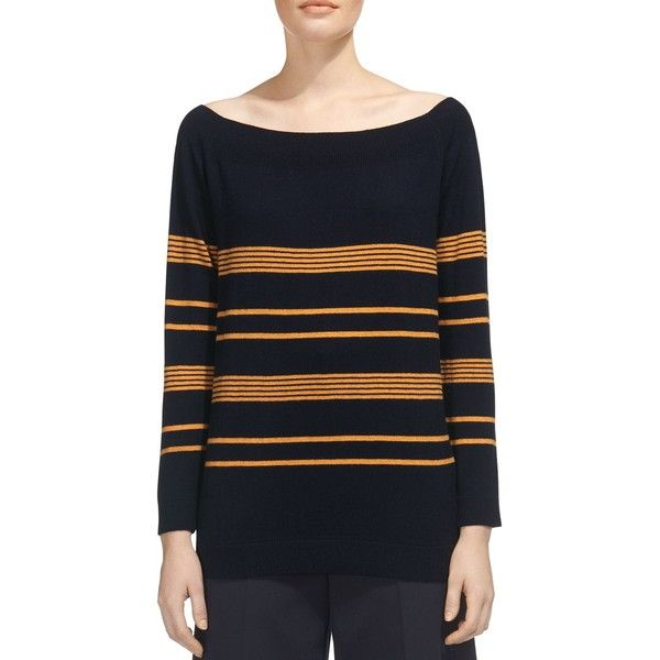 Whistles Striped Bardot Sweater ($230) ❤ liked on Polyvore featuring tops, sweaters, navy, stripe top, whistles tops, stripe sweaters, relaxed fit tops and whistles sweater