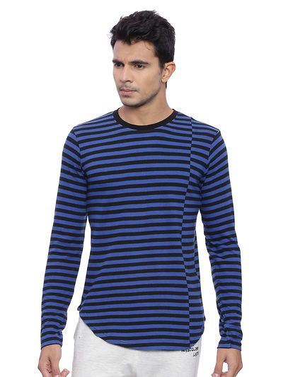 6c1affe70c Blue Striped Cotton Round Neck Tees | glowroad | Polo tees, Polo t ...