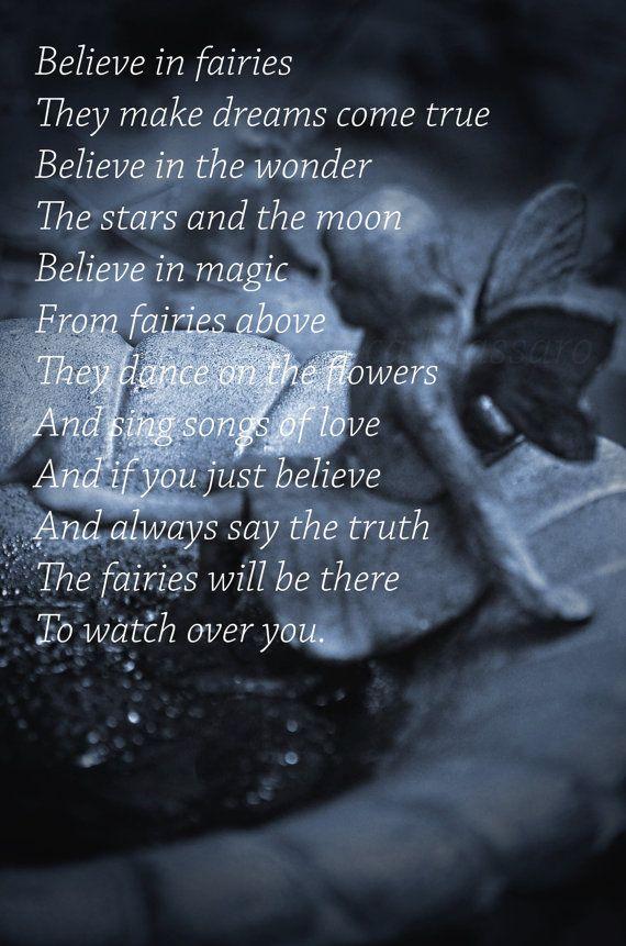 'Believe In Fairies' | Photography: EDMPrintedEphemera {Etsy} | Fairy Poem | Blue Faery Print | Fairy Nursery Decor