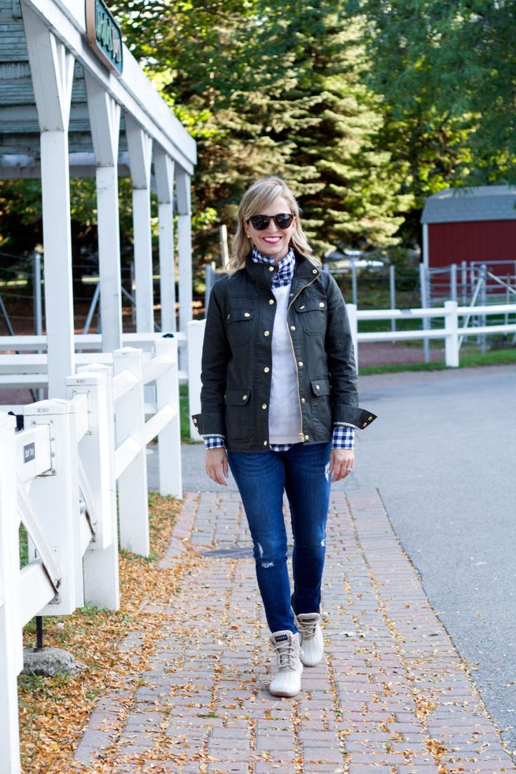 Field Jacket, Gingham Shirt and Sperry Duck Boots