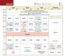Un emploi du temps pour une classe de GS-CP qui peut facilement être adapté à un cours simple.