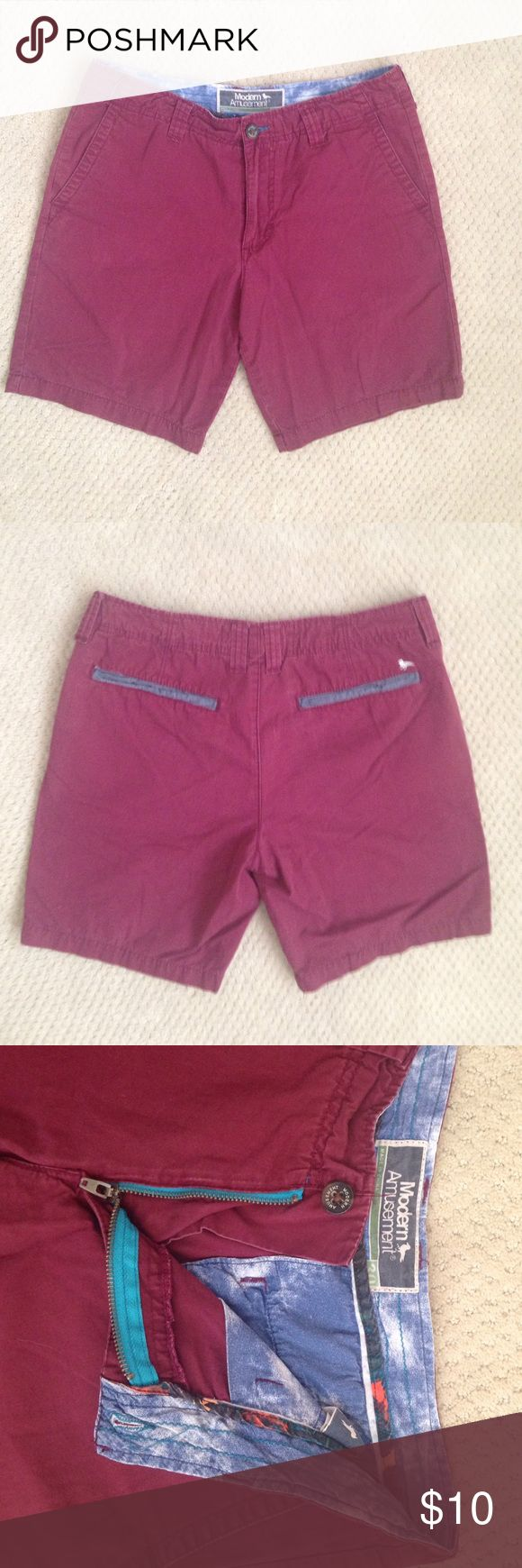 Men's Maroon Shorts Maroon colored shorts for men that reach about mid-thigh. Waist size 30. Good condition. Modern Amusement  Shorts Flat Front