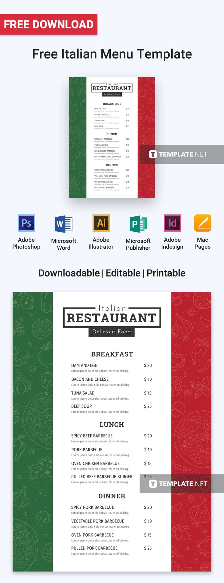 Menu Templates Free Microsoft Magnificent 12 Best Free Menu Templates Images On Pinterest