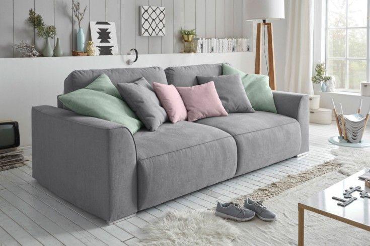 Modernes Design Big Sofa Weekend Grau Schlaffunktion Mit Bettkasten Und Kissen Dieses Sofa Wird Zum Eleganten Eyecatcher In Ihrem Zuha Kissen Sofa Grosse Sofas