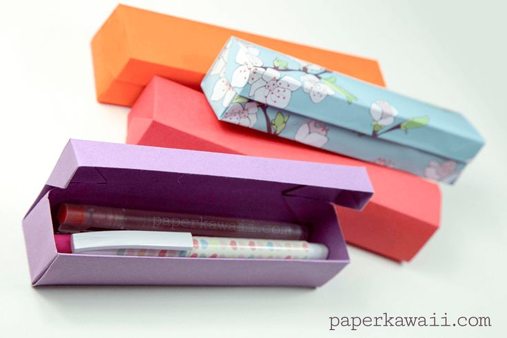 Origami Pencil Box Video Tutorial, Learn how to make an origami pencil box with a hinged lid with this easy to follow step by step video tutorial! Perfect to use for pens or as a gift box!  #pencilbox